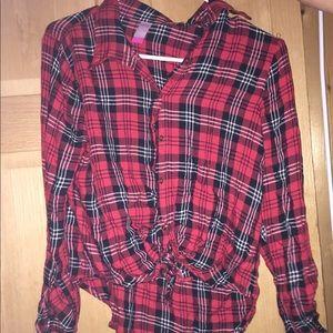 Tops - plaid shirt, ties at front